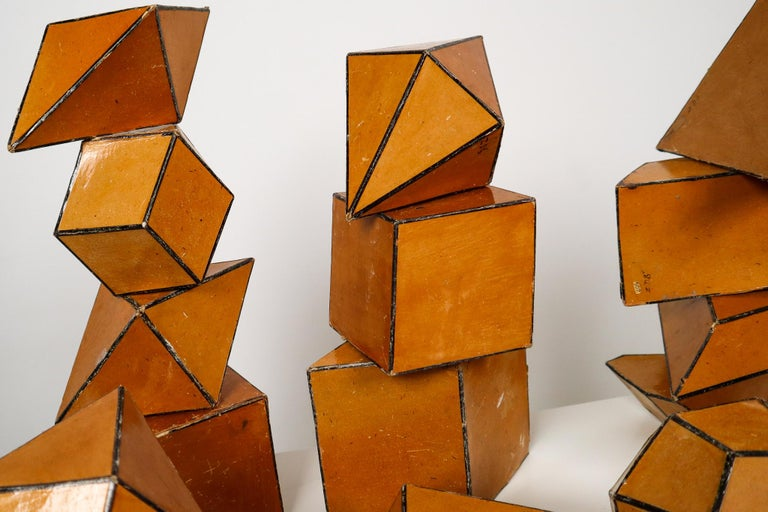 Early 20th Century Set of 24 Geometric Science Cardboard Classroom Crystal Models Praque, 1920 For Sale