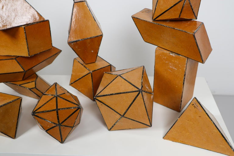 Paper Set of 24 Geometric Science Cardboard Classroom Crystal Models Praque, 1920 For Sale