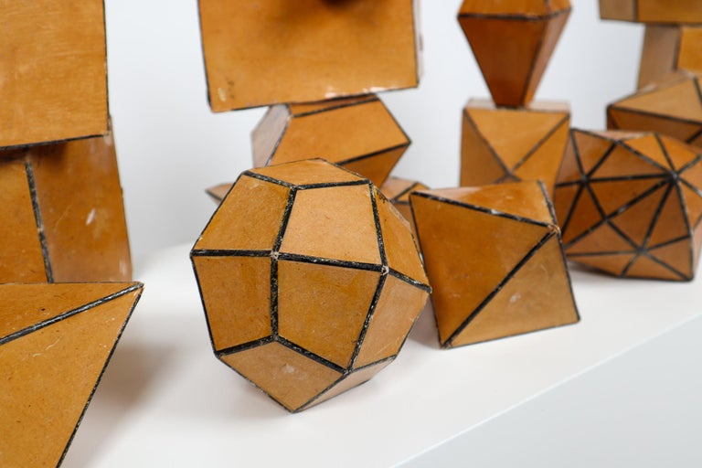 Set of 24 Geometric Science Cardboard Classroom Crystal Models Praque, 1920 For Sale 1