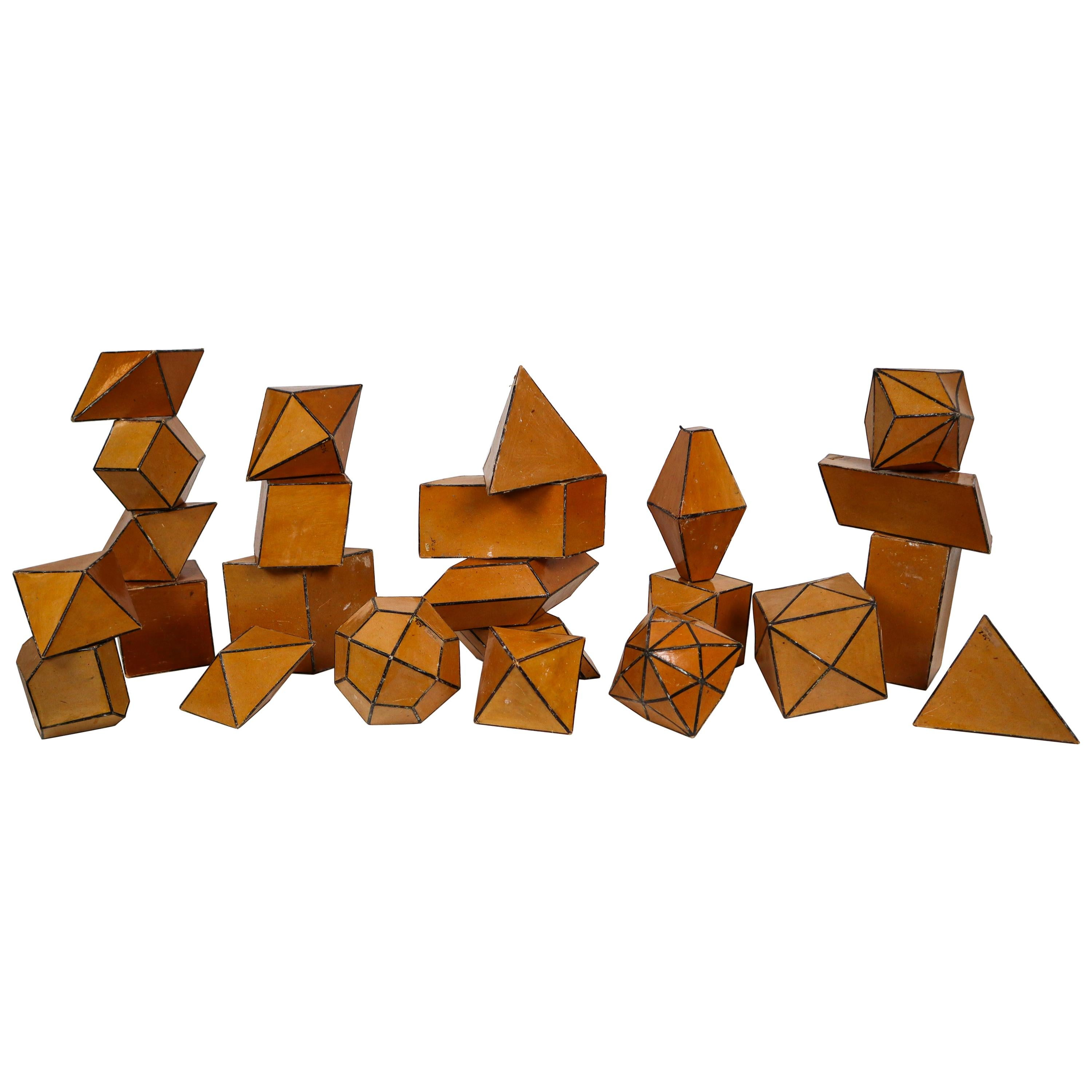 Set of 24 Geometric Science Cardboard Classroom Crystal Models Praque, 1920