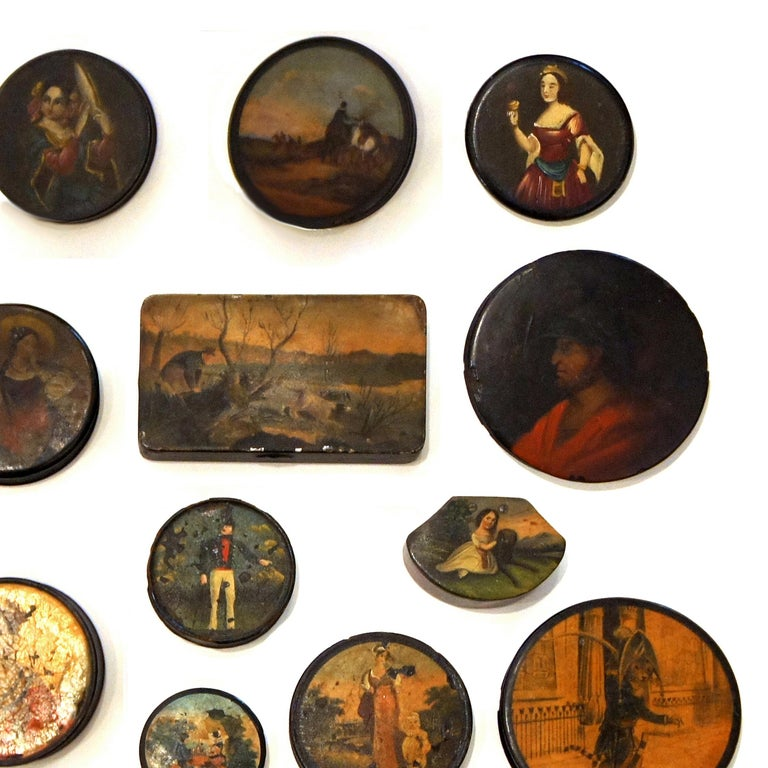 George IV Set of 24 Painted Papier Mache and Metal Snuff Boxes For Sale