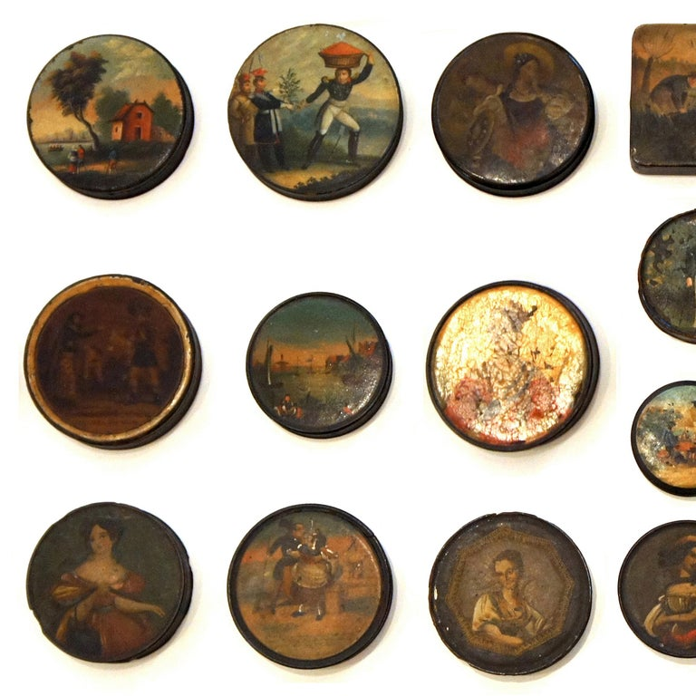 English Set of 24 Painted Papier Mache and Metal Snuff Boxes For Sale