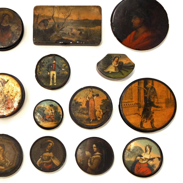 Hand-Painted Set of 24 Painted Papier Mache and Metal Snuff Boxes For Sale