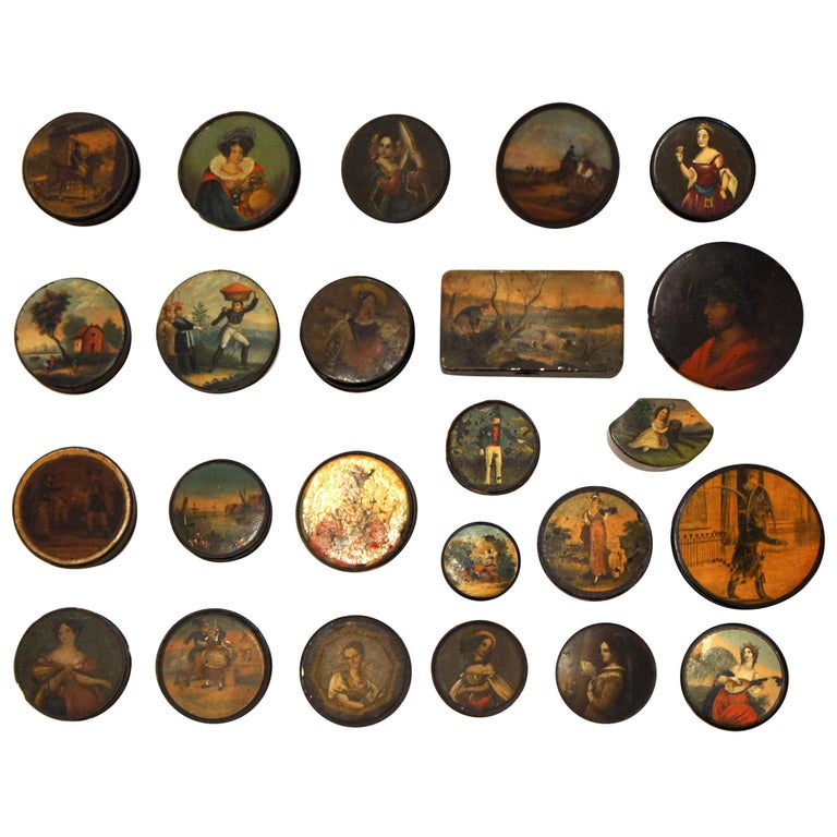 Set of 24 Painted Papier Mache and Metal Snuff Boxes For Sale