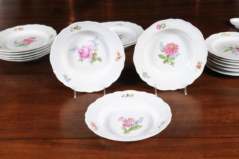 Set of 24 Pieces German Meissen Porcelain Dinner Service with Floral Decor For Sale 5