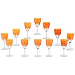 Set of 24-Pieces Signed Baccarat Tangerine Crystal Goblets, 12 Wines & 12 Waters