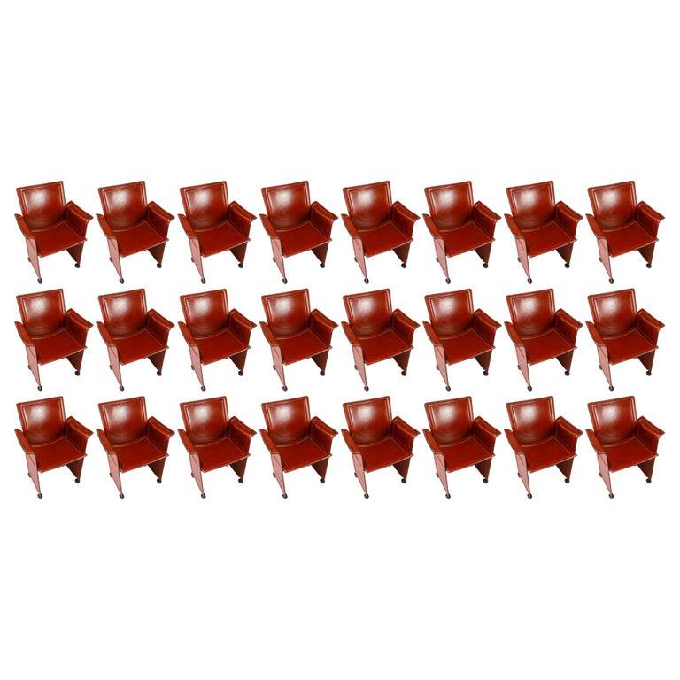 "Set of 24 Tito Agnoli for Matteo Grassi ""Korium"" Cognac Leather Armchairs, 1970s For Sale"