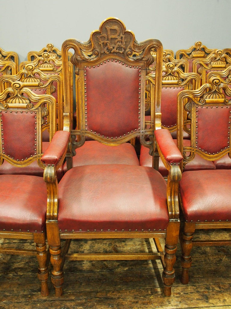 Set of 24 Victorian Carved Oak Dining Chairs For Sale at ...