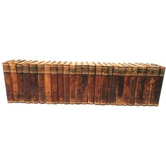 Set of 25 Swedish Leather-Bound Library Books, 1948