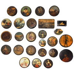 Set of 26 Painted Papier Mâché and Metal Snuff Boxes