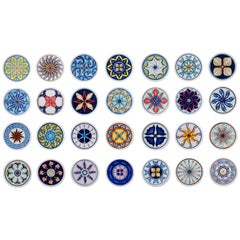 Set of 28 Sicilian Clay Hand-Painted Colapesce Dinner Plates, Made in Italy