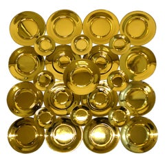 Set of 29 Gold Glass Plates