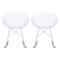 Set of 2Kartell Smatrik Rocking Chair in Crystal Chrome Legs by Tokujin Yoshioka
