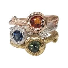 Set of 3 14k gold Multicolored Sapphire Bark Stack-Able Rings