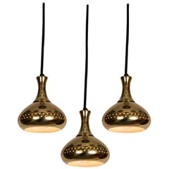 Set of 3 1950s Hans-Agne Jakobsson Perforated Brass Pendants for Markaryd
