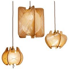 Set of 3 1970s French Raffia and Oak Pendant Lamps