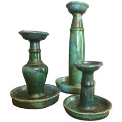 Set of 3 Early 20th Century Chinese Green Glazed Candlesticks