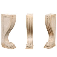 Set of Three Continental Neoclassical Style Carved Marble Lions Legs