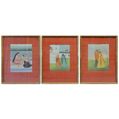 Set of 3 19th Century Indian Drawings