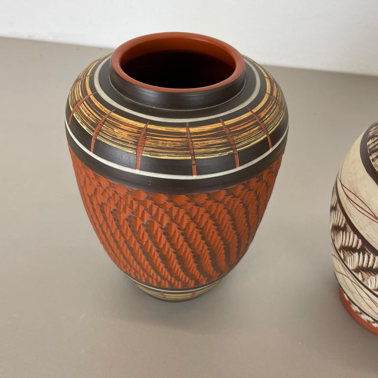 Set of 3 Abstract Ceramic Pottery Vases by EIWA / AKRU Ceramics, Germany, 1950s For Sale 5