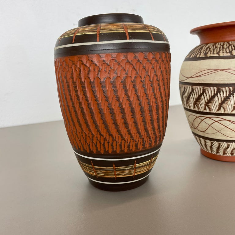 Set of 3 Abstract Ceramic Pottery Vases by EIWA / AKRU Ceramics, Germany, 1950s For Sale 6