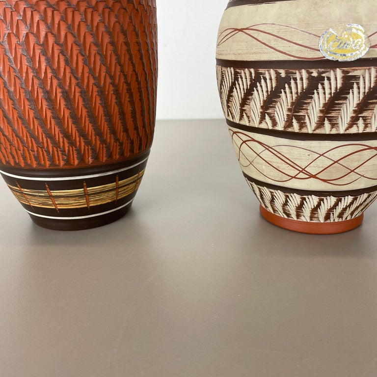 Set of 3 Abstract Ceramic Pottery Vases by EIWA / AKRU Ceramics, Germany, 1950s For Sale 8