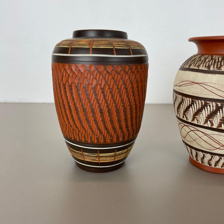 Set of 3 Abstract Ceramic Pottery Vases by EIWA / AKRU Ceramics, Germany, 1950s In Good Condition For Sale In Kirchlengern, DE
