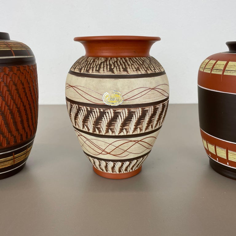 20th Century Set of 3 Abstract Ceramic Pottery Vases by EIWA / AKRU Ceramics, Germany, 1950s For Sale