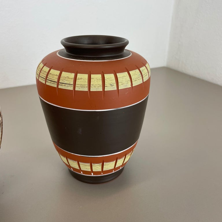 Set of 3 Abstract Ceramic Pottery Vases by EIWA / AKRU Ceramics, Germany, 1950s For Sale 2