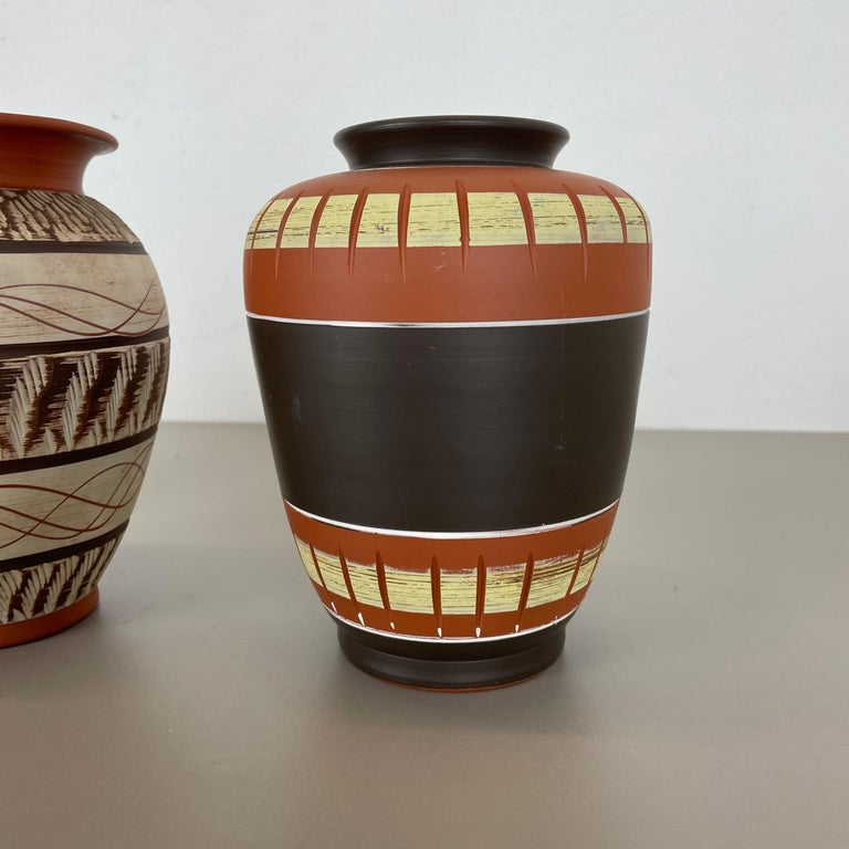 Set of 3 Abstract Ceramic Pottery Vases by EIWA / AKRU Ceramics, Germany, 1950s For Sale 3