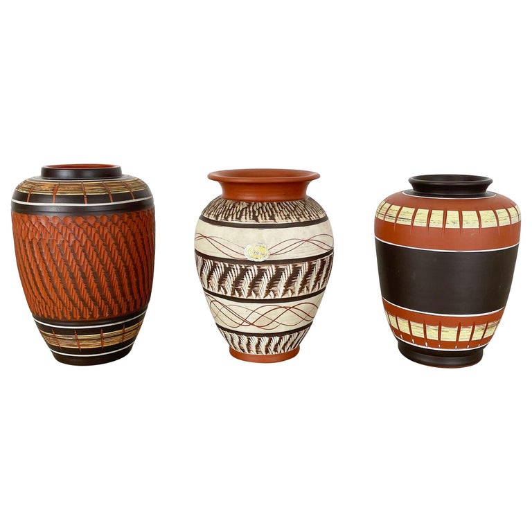 Set of 3 Abstract Ceramic Pottery Vases by EIWA / AKRU Ceramics, Germany, 1950s For Sale