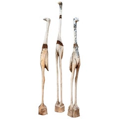 Set of 3 African Carved Wooden Birds