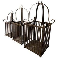 Set of 3 Aged Iron Cast Garden Candleholders by Urban Zen