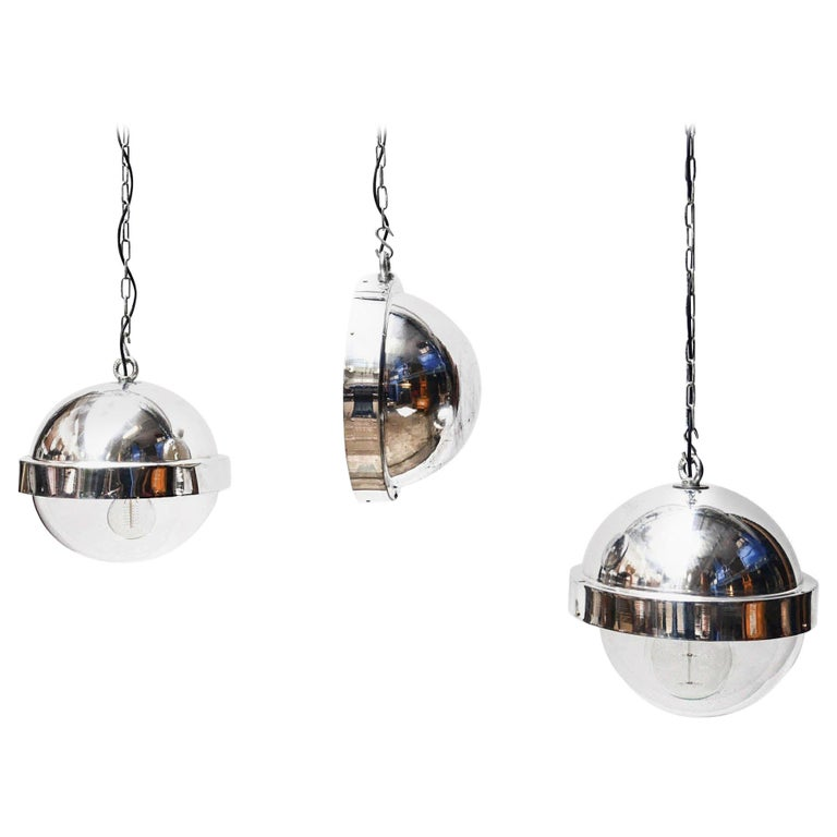 """Set of 3 """"Aluminium Ball"""" Ceiling Lamps, France, circa 1960 For Sale"""