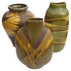 Set of 3 American 1960s Royal Haeger Olive-Green Glazed Ceramic Vases