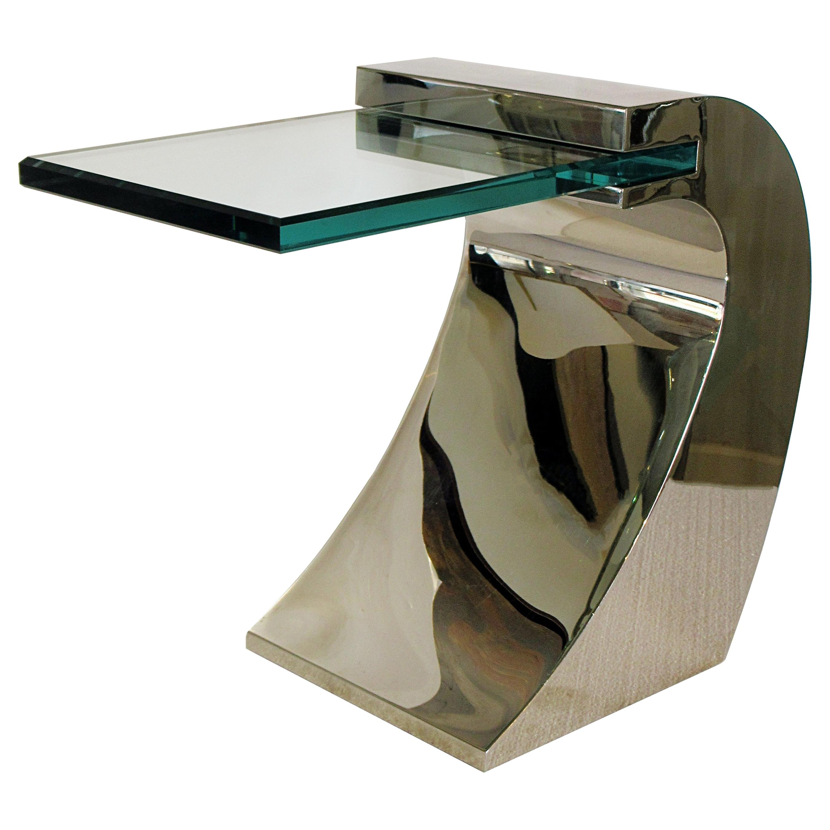 Set of 3 American Modern Chrome and Glass Side Table, Pace