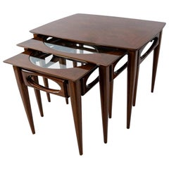 Set of 3 American Modern Walnut Nesting Tables, by American of Martinsville