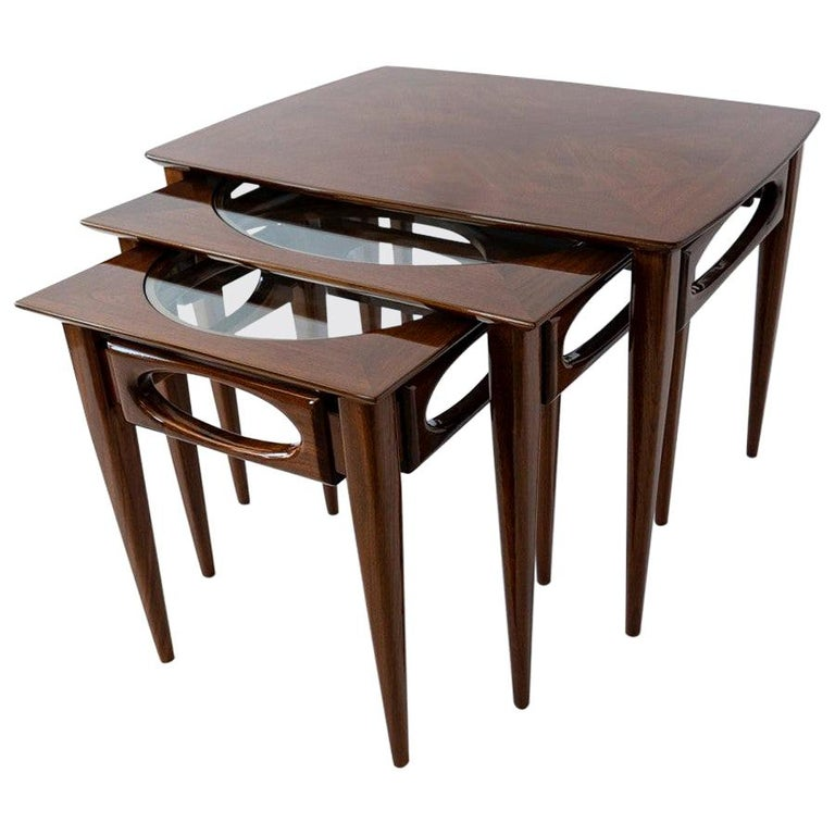 Set of 3 American Modern Walnut Nesting Tables, by American of Martinsville For Sale