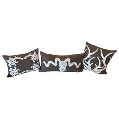 Set of 3 Ankasa Brown Pillows with Horns