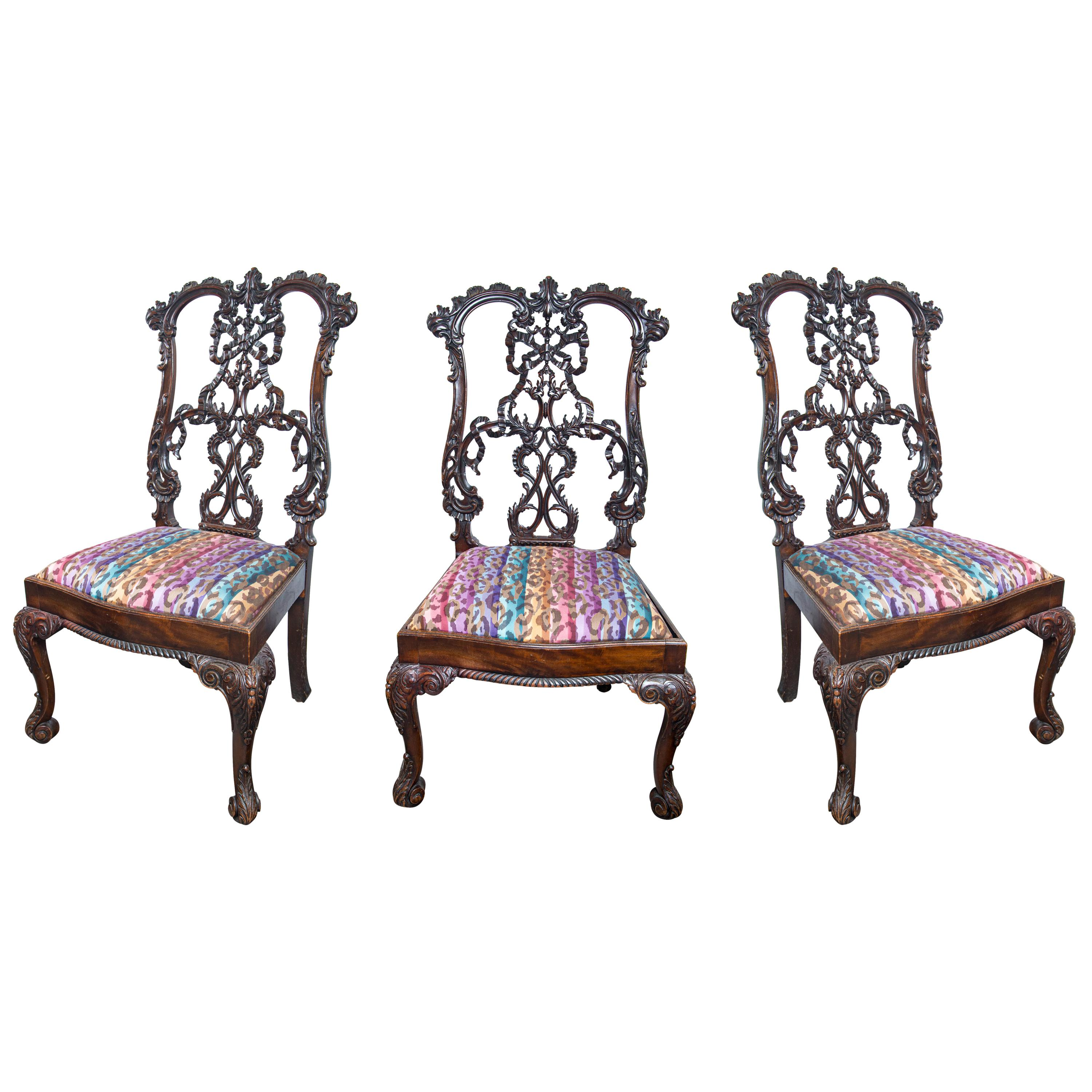 Set of 3 Antique Carved Mahogany Side Chairs