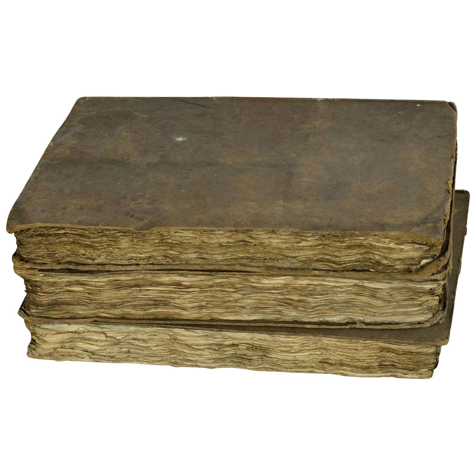 Set of 3 Antique Early 19th Century Distressed Books