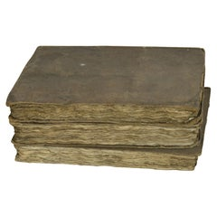 Set of 3 Antique Early 19th Century Distressed Books with Earth Colour Bindings