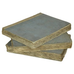 Set of 3 Antique Early 19th Century Distressed Books with Pale Blue Bindings
