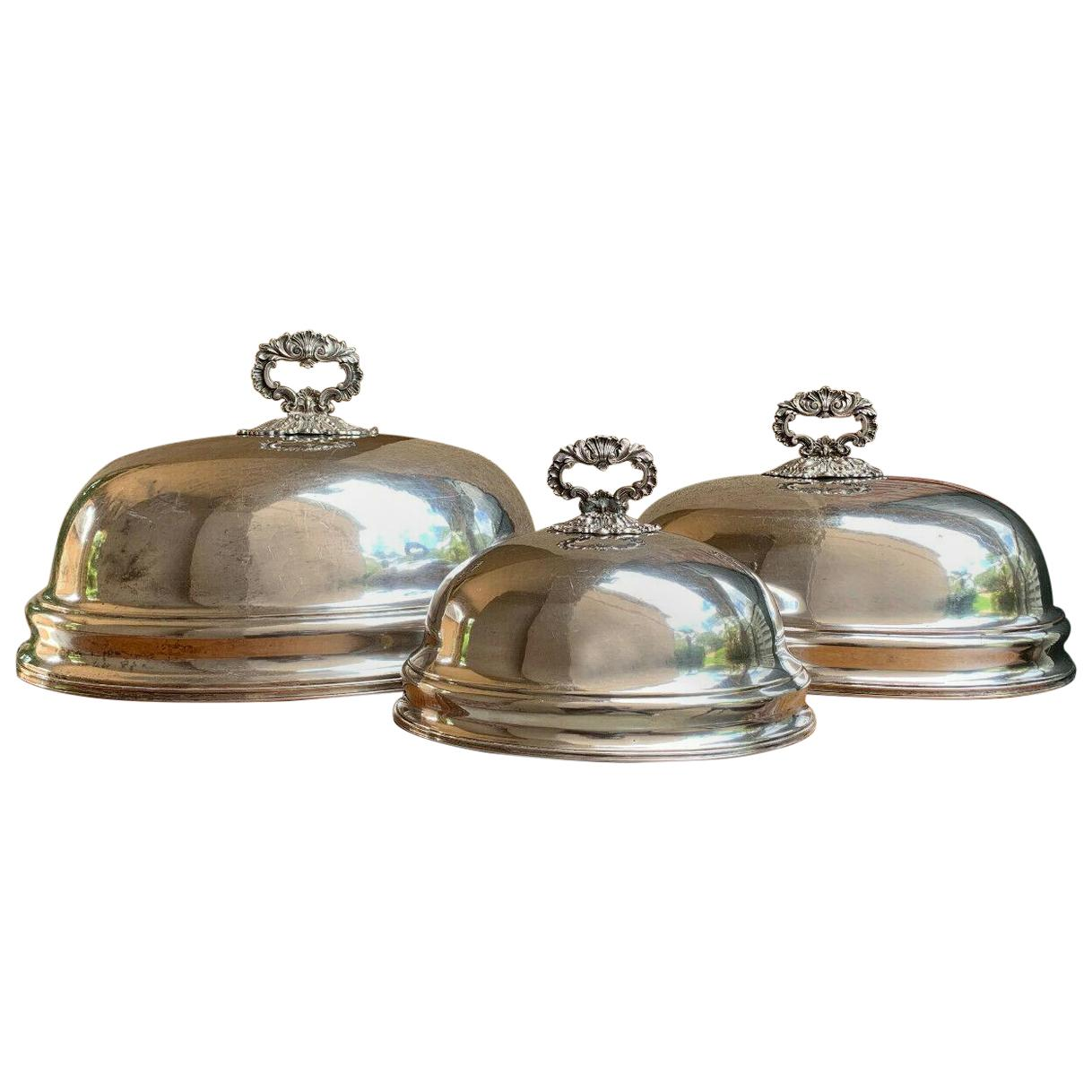 Set of 3 Antique English Silver Plate Turkey Meat Dome Food Cover Table Decor