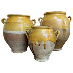 Set of 3 Antique French Confit Pot Yellow Glazed Pottery Provence, 19th Century