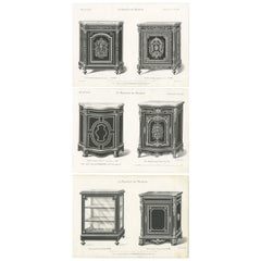 Set of 3 Antique Furniture Prints of Buffets and a Vitrine by Quetin
