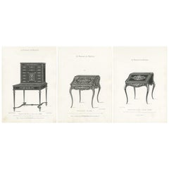 Set of 3 Antique Furniture Prints of Ladies Desks by Quetin, circa 1860