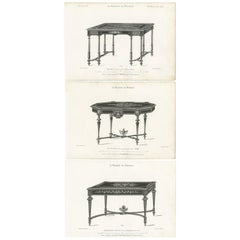 Set of 3 Antique Furniture Prints of Various Tables by Quetin, circa 1860