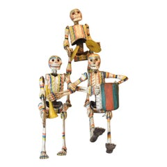 Set of 3 Antique Mexican Wooden Musician Skeletons