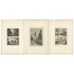 Set of 3 Antique Prints of Flanders and Holland 'circa 1820'